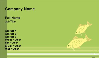 Green and Yellow Fish Business Card Template